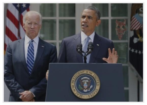 Strange Demon-Reflection Behind Obama & Biden During Syria War Talk